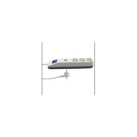 Steckdosenleiste ICE 3-fach mit Schalter 2xUSB weiss-grau